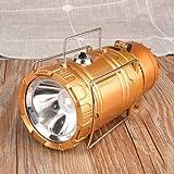TENGGO 3 in 1 Solar Camping Zelt Fan Lantern USB Wiederaufladbare Taschenlampe Torch Portable Hand Lampe-Gold