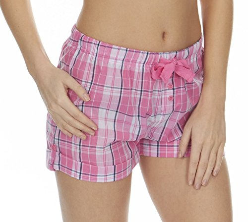 ladies-womens-checked-lounge-shorts-pyjama-sleep-nightwear-bed-forever-dreaming-small-pink