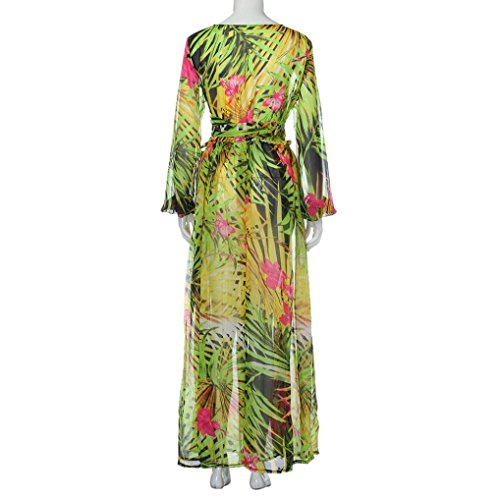 Reaso Femmes Robe, Col V Manche Longue Haut taille Motif feuille Maxi Robe de Plage Vert