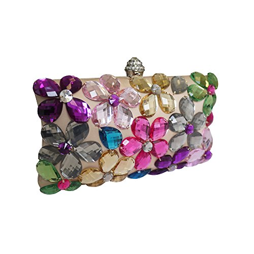 Anna Cecere italiano progettato Fiori gioiello frizione cocktail di sera Bag - Nero rosa