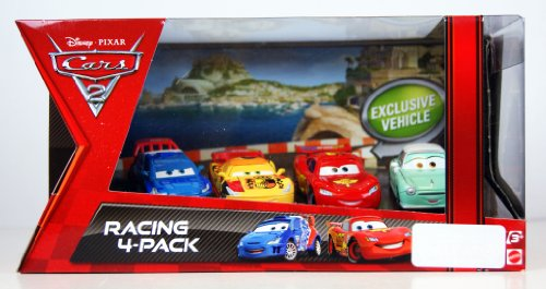 Disney Pixar Cars 2 - 4-pack - Lightning McQueen & Raoul Caroule & Miguel Camino & Denise Beam - 1:55 - Mattel - V5015 - Véhicule Miniature -