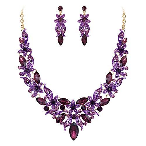 muckset Kristall Braut Hochzeit Blumen Blume Blatt Halskette Ohrringe Set Lila Gold-Ton ()