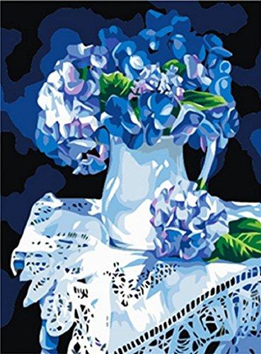 PaintingStudio blu Fiore sulla tabella di pittura a olio di DIY kit numero di illustrazioni per stampata su tela 16x20 pollici senza cornice
