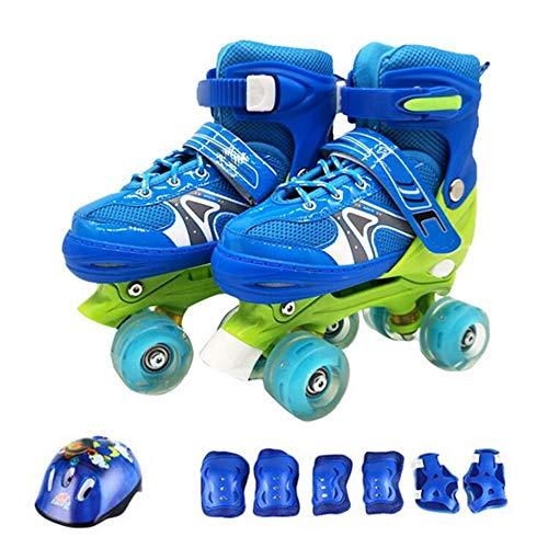 ZCRFY Inline-Skates Kinder Rollschuhe Für 2-in-1 Quad-Skate Verstellbare Rollerblades Frauen Mädchen Kleinkinder Jugend 12-4 Jahre Alt Set Geburtstagsgeschenke,Blue-S(26-32) Code