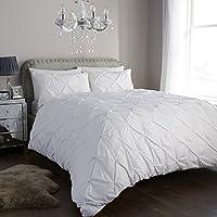Aviator London Diamond Glitz Duvet Cover Set With Pillow Cases, Bed Linen Designer Quilt Cover Set With Pillowcases, Single, Double, King, Super King Quilt Sets (White, Single)