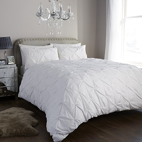 Cotton Dynamics Diamond Pintuck Polycotton Duvet Cover Sets with Pillow Cases Bedding Sets 5 Colours Available (King, White)