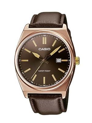 Casio MTP-1343L-5BEF de cuarzo para hombre con correa de piel, color marrón