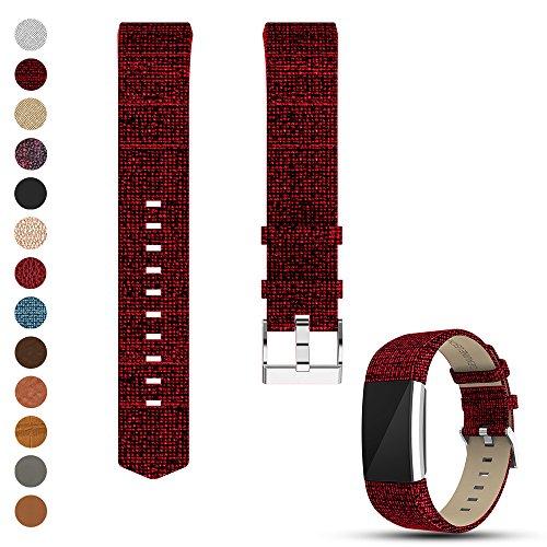 Feskio Fitbit Charge 2 Ersatz Weich Kalb Echtlederarmband, Zubehör Leder Klassisch Handgelenkband Band Armband für Fitbit Charge 2 Handgelenkband