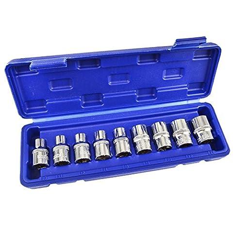E - Star / Torx sockets Female 1/2 Drive 9pcs E10 - E24 AT615