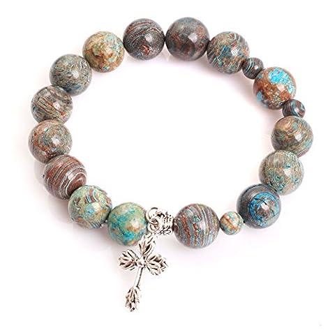 Mala Anglican Muslim Catholic Christian Episcopal Prayer Rosary Beads Cross Bracelet for Men 7'' Handmade (Blue Crazy Lace Agate/12MM)