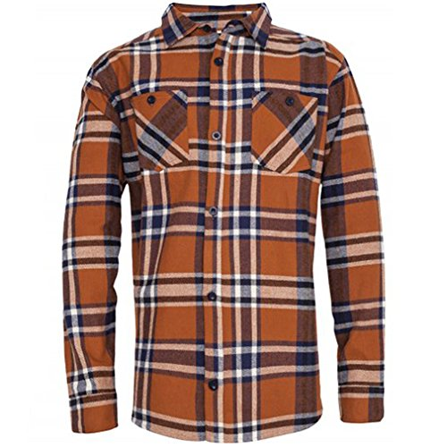 King Kerosin Herren Holzfällerhemd / Langarmhemd - Blanko Ocker Flannel Shirt Orange