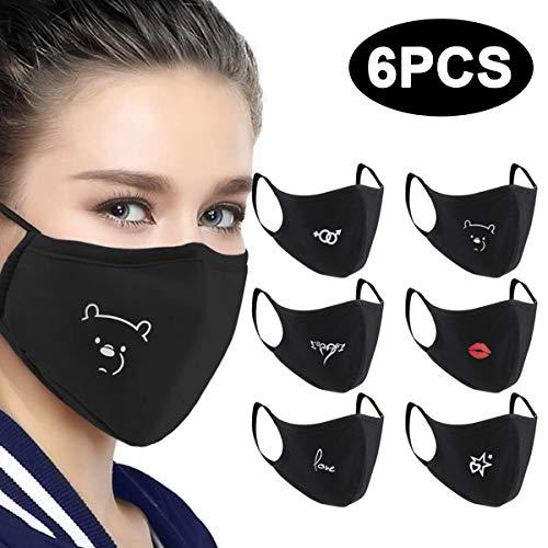 6 Stück Baumwolle Masken, Unisex Wiederverwendbar Mundschutz, Anti-Beschlag Maske, Kälteschutz Gesichtsmaske, Unisex Wiederverwendbar Kawaii Für Männlich Frau (A)
