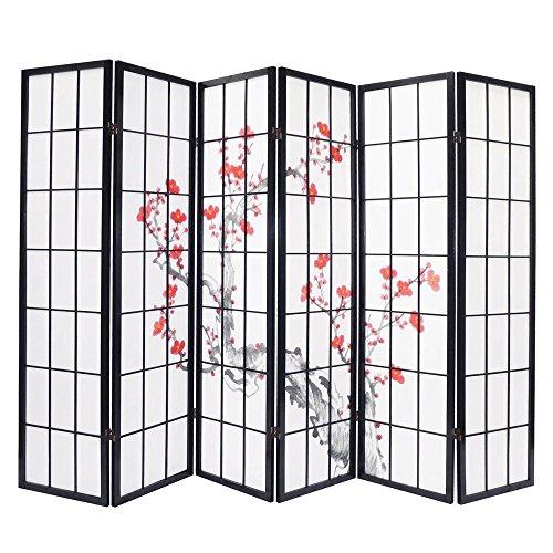 PEGANE Paravent Bois Noir avec Fleurs de Cerisier de 6 pans, Dim: L264 x H176 x P2 cm