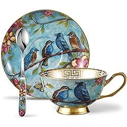Panbado Tasse à Thé Service à Café Anglais en Porcelaine 200ml à la Cendre d'Os avec Soucoupe Cuillère