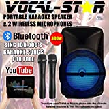 Vocal-Star Karaoke Machine & PA Speaker With Bluetooth & 2 Microphones 300w