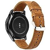 22mm Armband Pinhen Premium Soft Echt Leder Uhrenarmband Lederarmband Uhr Band Ersatzband für Samsung Gear S3, Moto 360 2nd Gen 46mm, Pebble Time, LG G Watch (22MM Brown)