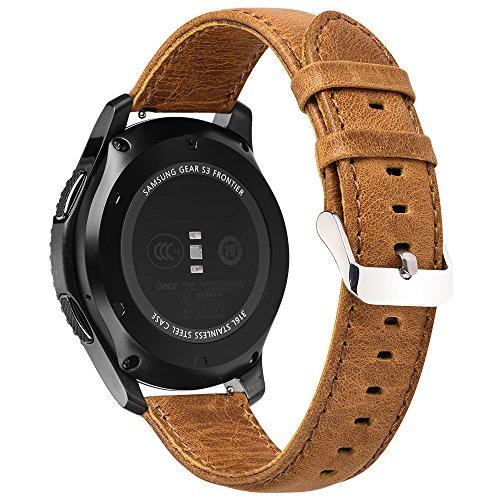 Pinhen 22mm Armband Premium Soft Echt Leder Uhrenarmband Lederarmband Uhr Band Ersatzband für Samsung Gear S3, Moto 360 2nd Gen 46mm, Pebble Time, LG G Watch (22MM Brown)