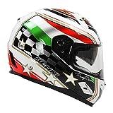 Motorradhelm Fiberglas Street Moto Touring Motorradrennen Reiten Integralhelme-Italien, XL