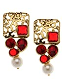 Bindhani Traditional Party Wear Red Earrings For Women