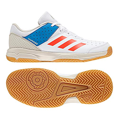 adidas Unisex-Erwachsene Court Stabil Handballschuhe Weiß (Ftwbla/Rojsol/Azubri 000) 38 2/3 EU