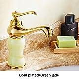 Retro Deluxe Fauceting Badezimmer Waschbecken Wasserhahn Messing goldene Platte natürliche Jade Dekoration Waschbecken Mischbatterie Deck montiert Single neu Griff Luxus, Messing, Gold Grün, China