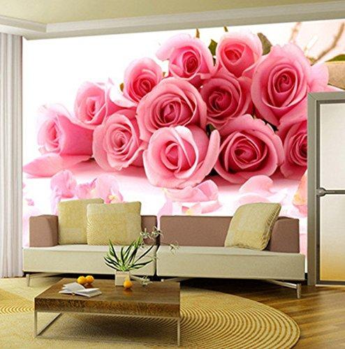 Kuamai Fondo De Pantalla Personalizado 3D Rosa Rosa Flores Foto Mural De La Pared Sala De Estar Dormitorio Casa De La Boda Romántica Cálida Fondo Pared Papeles Rollo-280X200cm
