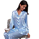 Damen Seide Schlafanzug Pyjama Blau Medium