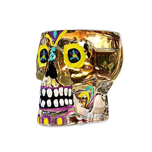 (HBLWX Skull Whisky Glas Bierglas Tequila, Cocktail Glas Weinglas Bierkrug Trinkgläser Geschenk für Vater oder eine Bar,Yellow)