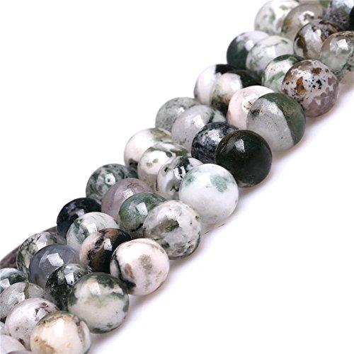 Perlen für Schmuckherstellung, Achat-Stein, 4mm, rund, Naturgrün, Moosbaum, 38,1cm, Green 8mm, 8 mm