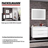 Fackelmann Badmöbel Set Kara 3-tlg. 80 cm weiß mit Waschtisch Unterschrank & Glasbecken & LED Spiegelschrank