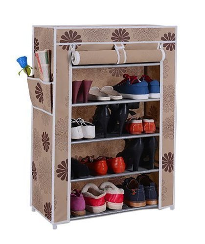 Sterling 5 Layer Multipurpose Portable Folding Shoe Rack With Cover For Home (Multi Color) (60 cms X 30 cms X 90 cms) Color As Per Availability
