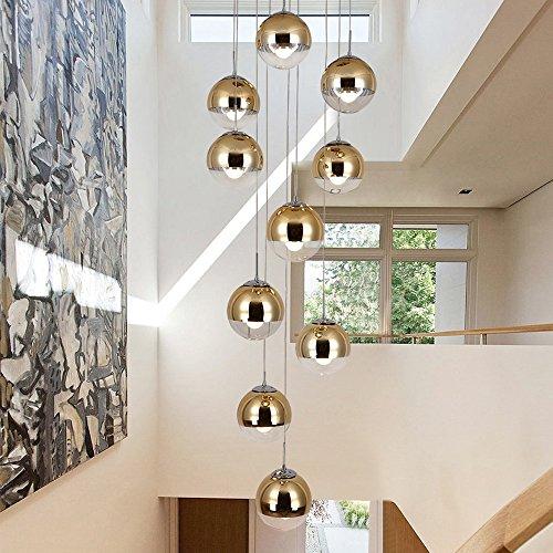 moderne Treppe Kronleuchter 10 Glaskugeln kreative Persönlichkeit Wohnzimmer Leuchte minimalistischen langen Pendelleuchte, 40 * 200 cm (Farbe : Gold) -