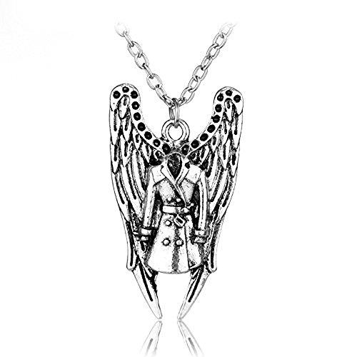 Beaux Bijoux Supernatural Angel Wing und Castiel 's Overcoat Halskette-Castiel Engel Flügel Combo Charm Pentagramm Silber Pentagramm-inspiriert Halskette in Geschenkbox (Halskette-ohrring-combo)