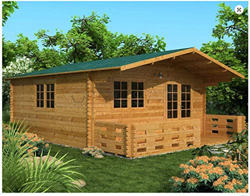 Mondocasette Casa Gartenhaus aus Holz - Modell Venta Wandstärke 45 mm 500 x 500 cm, Bungalow Chalet...