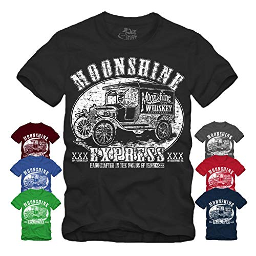 Moonshine Express T-Shirt S-XXXXL, Hot Rod Whisky, Rockabilly Redneck Fuel Rebel Pick Up (XXXL, Schwarz)