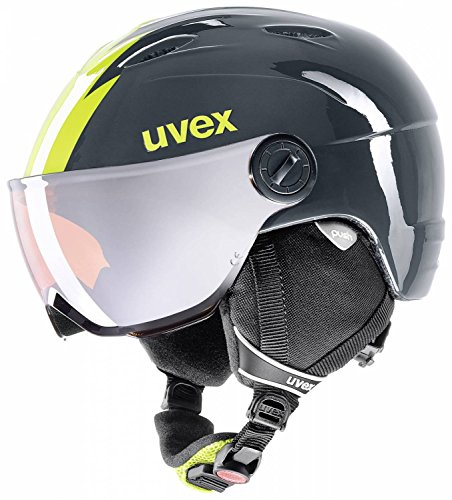 UVEX Kinder Junior Visor Pro Skihelm, Titanium-Lime, 54-56