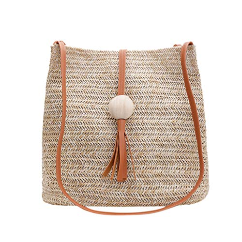 Mitlfuny handbemalte Ledertasche, Schultertasche, Geschenk, Handgefertigte Tasche,Mode Damen Sommer Stroh Quaste Holz Ball Wilde Schultertasche Strand Casual Bag - Vintage Harris Tweed