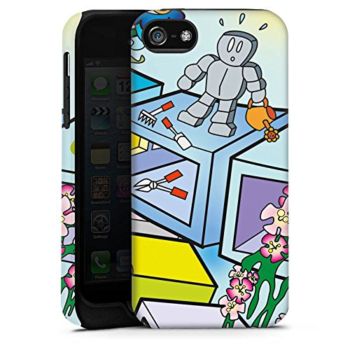 Apple iPhone 4 Housse Étui Silicone Coque Protection Bande dessinée Robot Dé Cas Tough terne