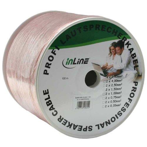 InLine Lautsprecherkabel, 2x 4mm², CU, 50m, transparent