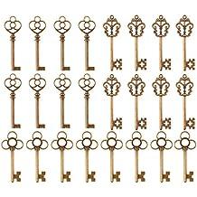 Ailiebhaus 24 Pcs Antico Vintage Chiave Bronzo Skeleton Key Blocco Ciondolo Incanta i Risultati misti per la Produzione di Gioielli