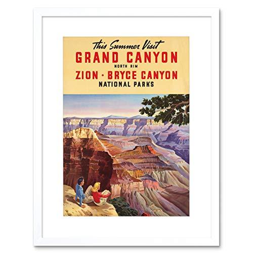 TRAVEL SUMMER GRAND CANYON NORTH RIM BRYCE NATIONAL PARK FRAMED PRINT B12X7896