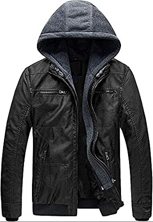 Blaq Ash Men's Faux Leather Jacket with Removable Hood (Black, S)