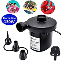 BOMPOW Electric Air Pump Inflate Deflate with 3 Nozzles, AC 230V / 130W Portable Pump for Air Mattress, Paddling Pool, Swimming Ring or Camping Travel Inflatables, UK 3 Pin Plug (AC 230V/130W)