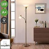 Lampenwelt LED Stehlampe 'Dunja' (Landhaus, Vintage, Rustikal) in Alu aus Glas u.a. für Wohnzimmer & Esszimmer (2 flammig, E27, A+, inkl. Leuchtmittel) - LED-Stehleuchte, Floor Lamp, Standleuchte
