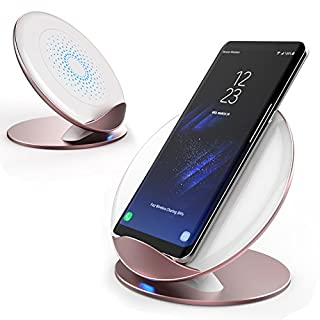 AURSEN Fast Wireless Charger, 10W Qi Kabellose Ladegerät für Samsung Galaxy S8/S8+/S9/9+/Note 9/Note 8/S7/S6, Induktive Ladestation für iPhone X/8/8 Plus/iPhone XR/XS MAX -Rose Gold