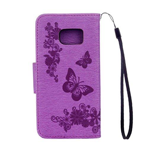 Hülle für iPhone 5 5S SE, Owbb Schmetterling Blumen Muster Handyhülle PU Ledertasche Flip Cover Wallet mit Stand Function Innenschlitzen Design Schwarz(Ein freier Stylus als Geschenk) Lila