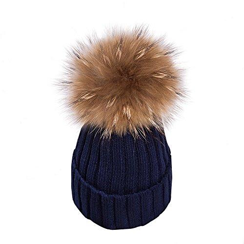 Yidarton Frauen Mädchen Strickmütze Pelzmütze Echt Große Waschbär Pelz Pom Pom Beanie Hüte Winter, Dunkelblau, Einheitsgröße (Weiße Baumwoll-skull-cap)