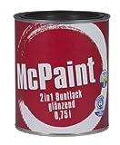 McPaint 2in1 Buntlack Grundierung und Lack in einem für Innen und Außen. PU verstärkt - speziell für Möbel und Kinderspielzeug glänzend Farbton: RAL 9005 Tiefschwarz 0,75 Liter - Bastellack- Andere Farben verfügbar