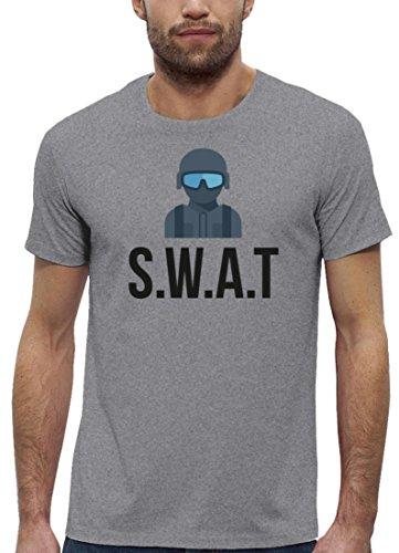 ShirtStreet Fasching Karneval Premium Herren T-Shirt Bio Baumwolle SWAT Kostüm 2, Größe: XXL,Heather Grey