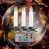 Deckey 20er Kabellose LED Kerzen mit Fernbedienung Weihnachtskerzen batteriebetriebend für Weihnachtsbaum Weihnachtsdeko Hochzeit Geburtstags Party Bunt (Bunt)